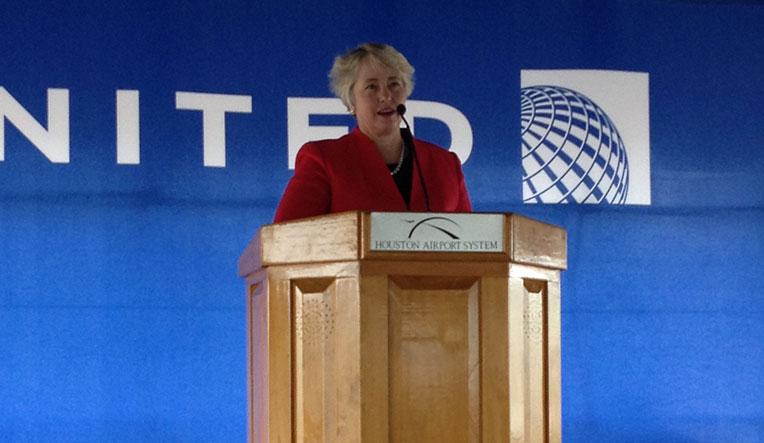 Mayor Annise Parkerspeaking at the press conference