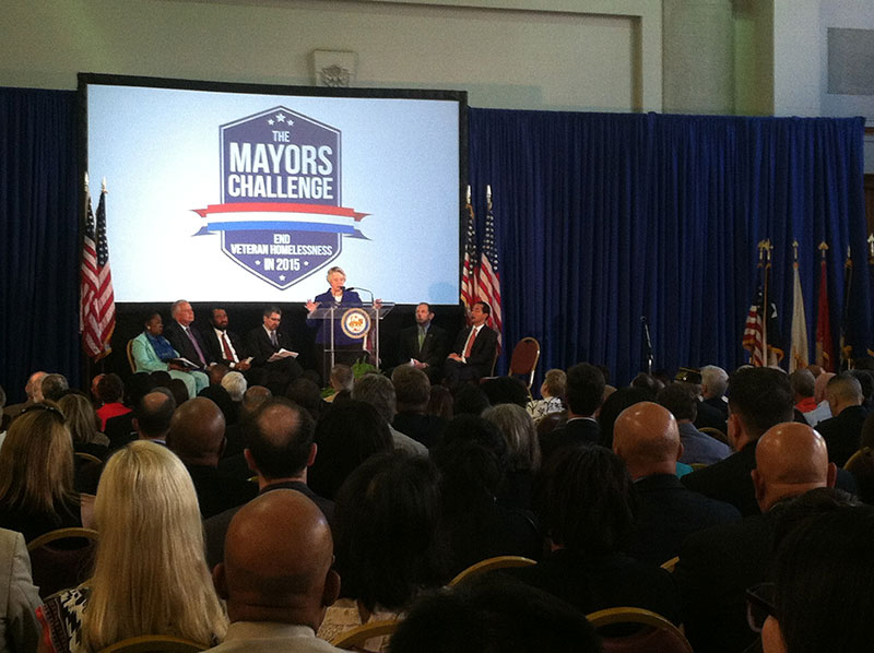 Houston Mayor Annise Parker at the podium
