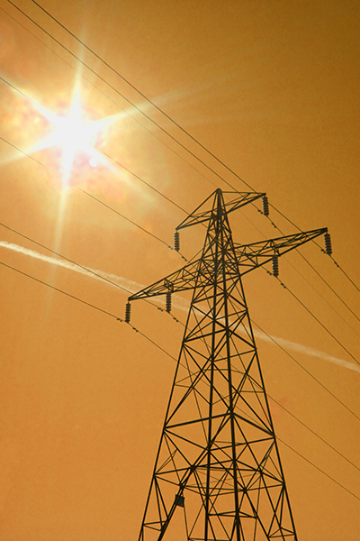 power lines in the bright sun