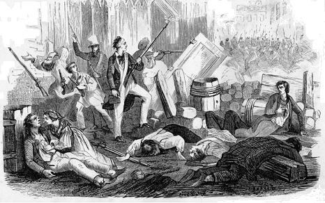 An 1870 wood engraving by Beval imagining the 1832 insurrection in Paris