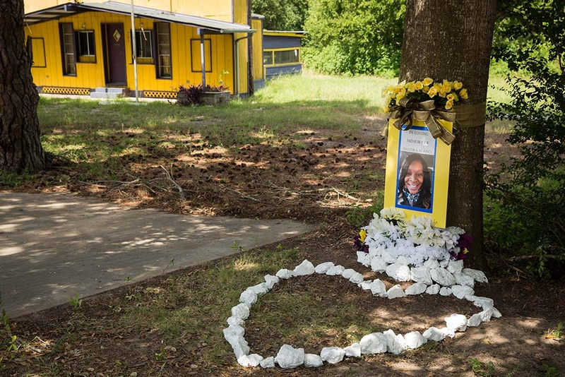 memorial for Sandra Bland at the site of her arrest
