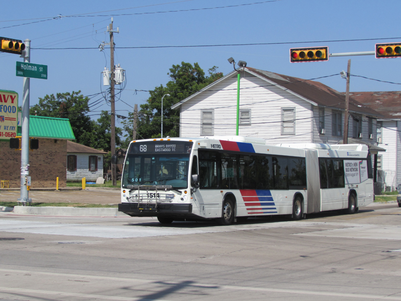 Metro's 68 bus on Holman Street at Scott in Houston's Third Ward
