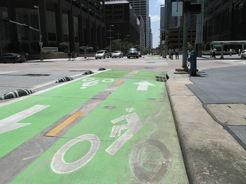 green downtown bike lane