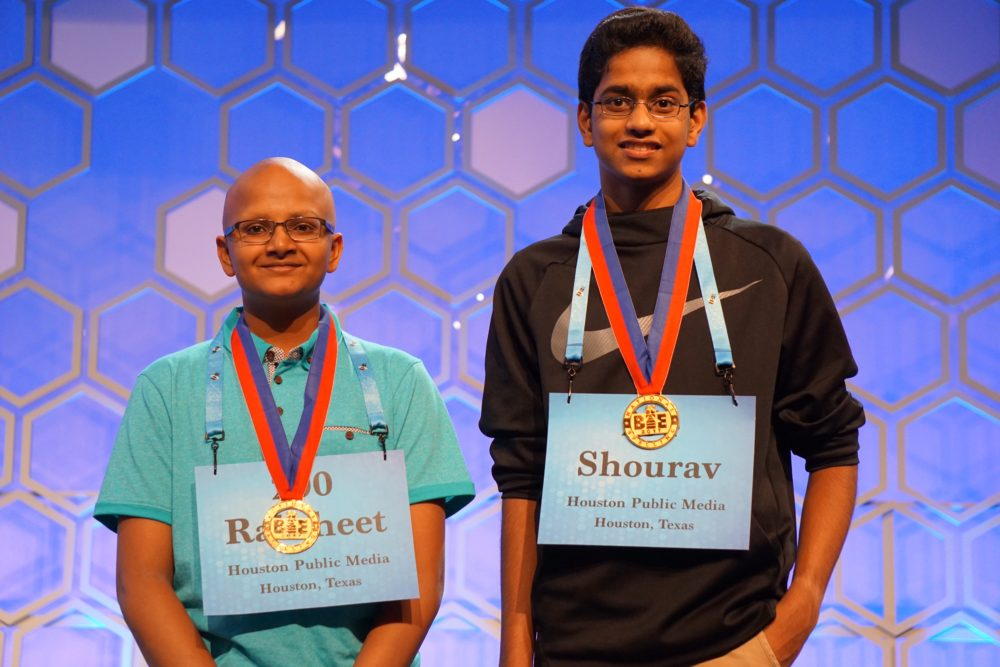 Raksheet Kota (left) and Shourav Dasari at the 2017 Scripps National Spelling Bee