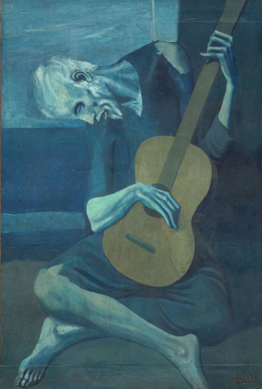 The Old Guitarist, oil on panel by Pablo Picasso.