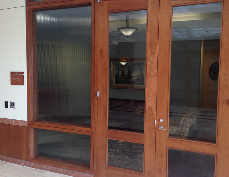 Front doors of vacated headquarters of Wallace Bajjali Development Partners, LP; in Sugar Land.