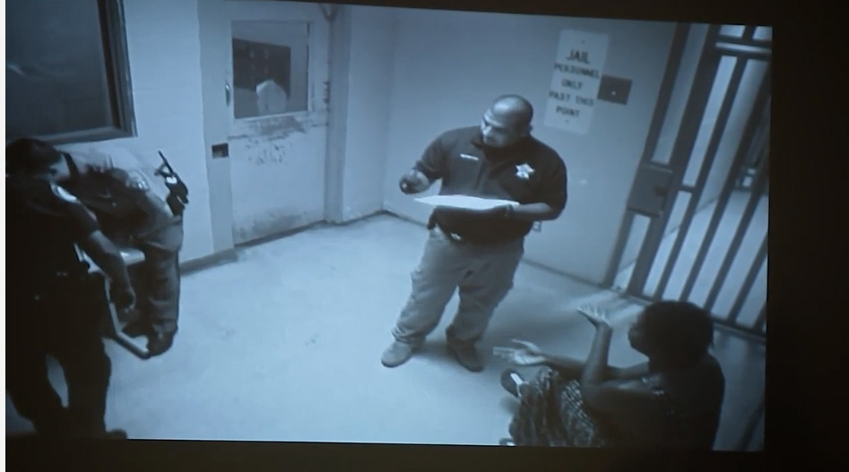 Sandra Bland seen inside Waller County Jail during intake process.