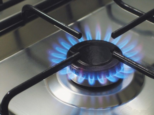Blue flame on stovetop