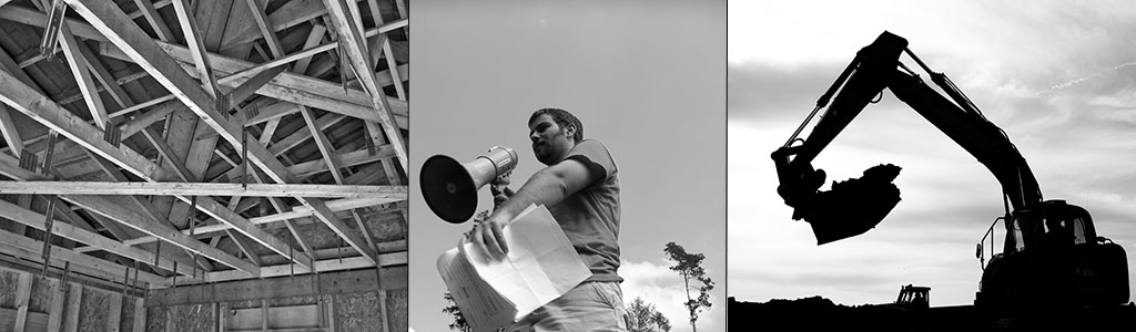 A triptych of a roof structure, a man with a megaphone and a backhoe