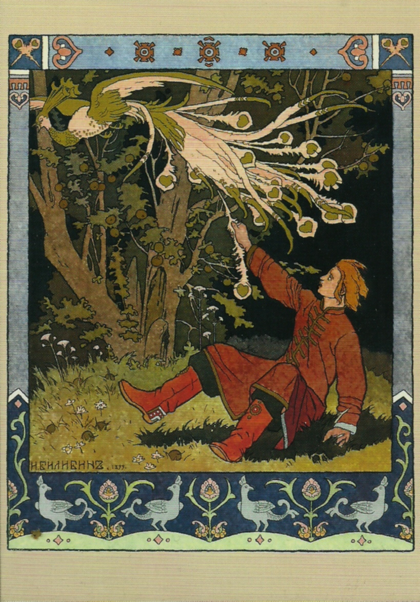An illustration of Ivan pulling the tail of the Firebird