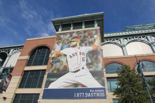 Large photo of Houston Astros pitcher Dallas Keuchel outside Minute Maid Park.