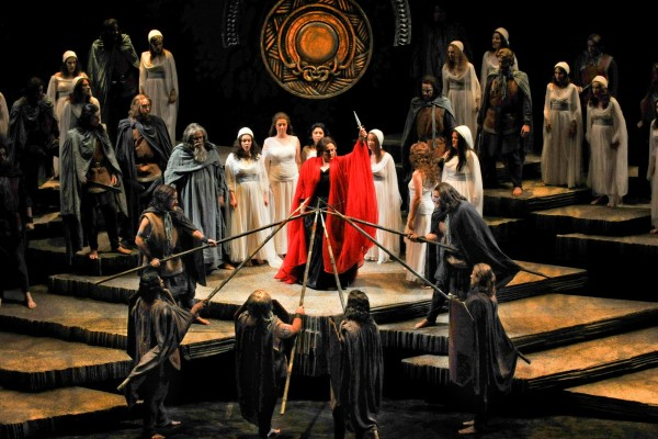 Scene from Act II of Norma where Norma wields the sacrificial dagger