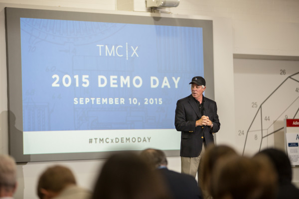 "TMC president Dr. Robert Robbins introduces presenters from 21 start-up companies during ""Demo Day."" on Sept. 10, 2015."
