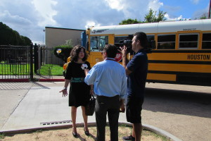 HISD Trustee Juliet Stipeche talks to reporters outside Furr High School about the bus crash that killed two students.