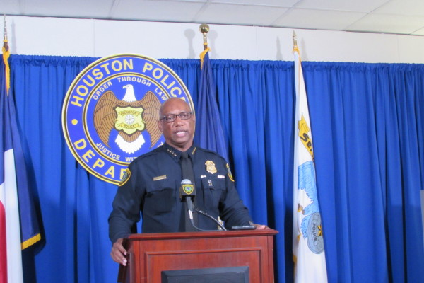 Houston Police Chief Charles McClelland at a news conference at police headquarters.