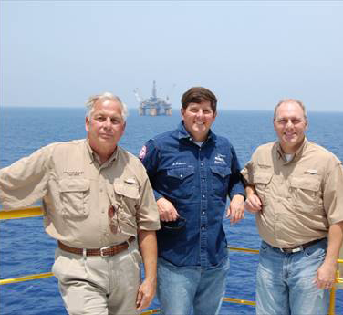 On the left, Rep. Gene Green aboard the Noble Energy Bully 1 deepwater drill ship