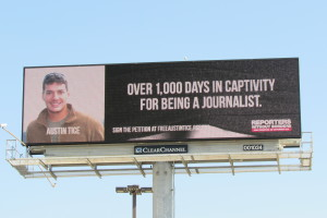 Billboard near Humble Texas highlights missing journalist Austin Tice.