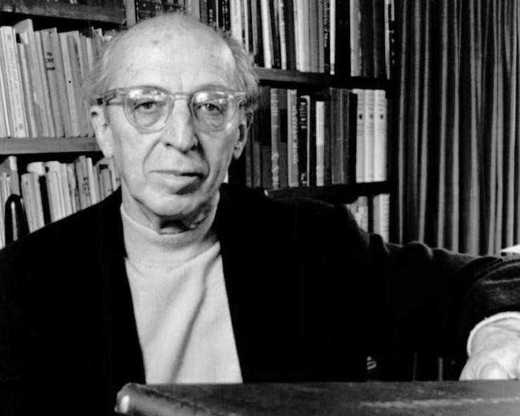 "Photograph of Aaron Copland for the ""Young Peoples' Concerts"" series produced by CBS television and the New York Philharmonic, c. 1970."