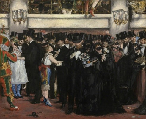 Painting of people at a masked ball