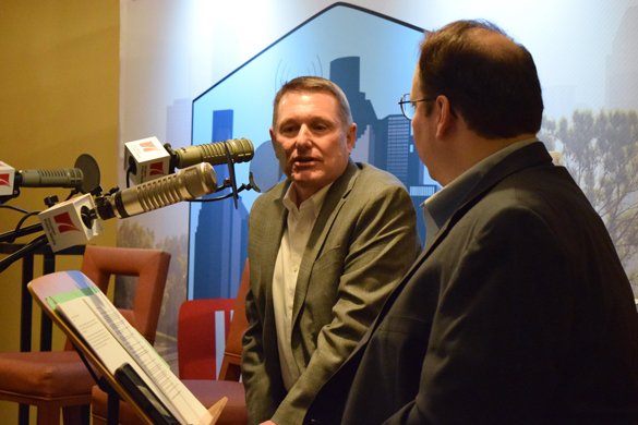 Clark Martinson, General Manager of the Energy Corridor District, talks with Craig Cohen.