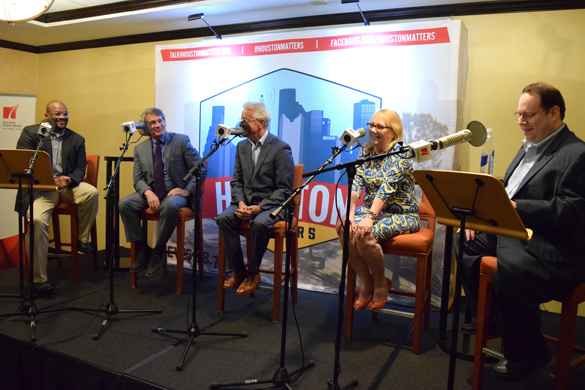 Panelists from The Good, The Bad and The Ugly onstage during the Houston Matters Road Show, Aug. 18, 2015. From left: Marcus Davis, Joe Holley, Russ Capper, Kyrie O'Connor and host Craig Cohen.