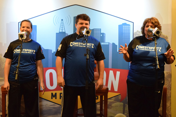 Performers from ComedySportz Houston perform onstage during the Houston Matters Road Show, Aug. 18, 2015.