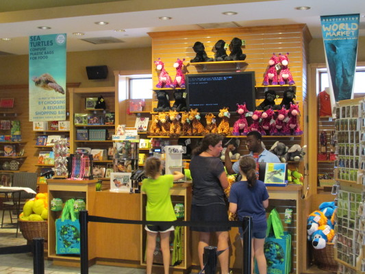 Photo of zoo gift shop counter