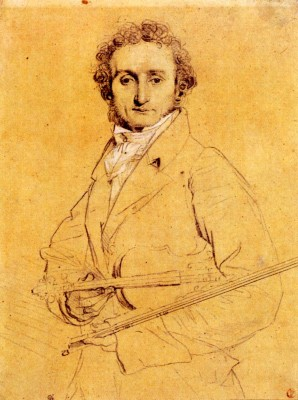 A portrait of Niccolo Paganini and his violin