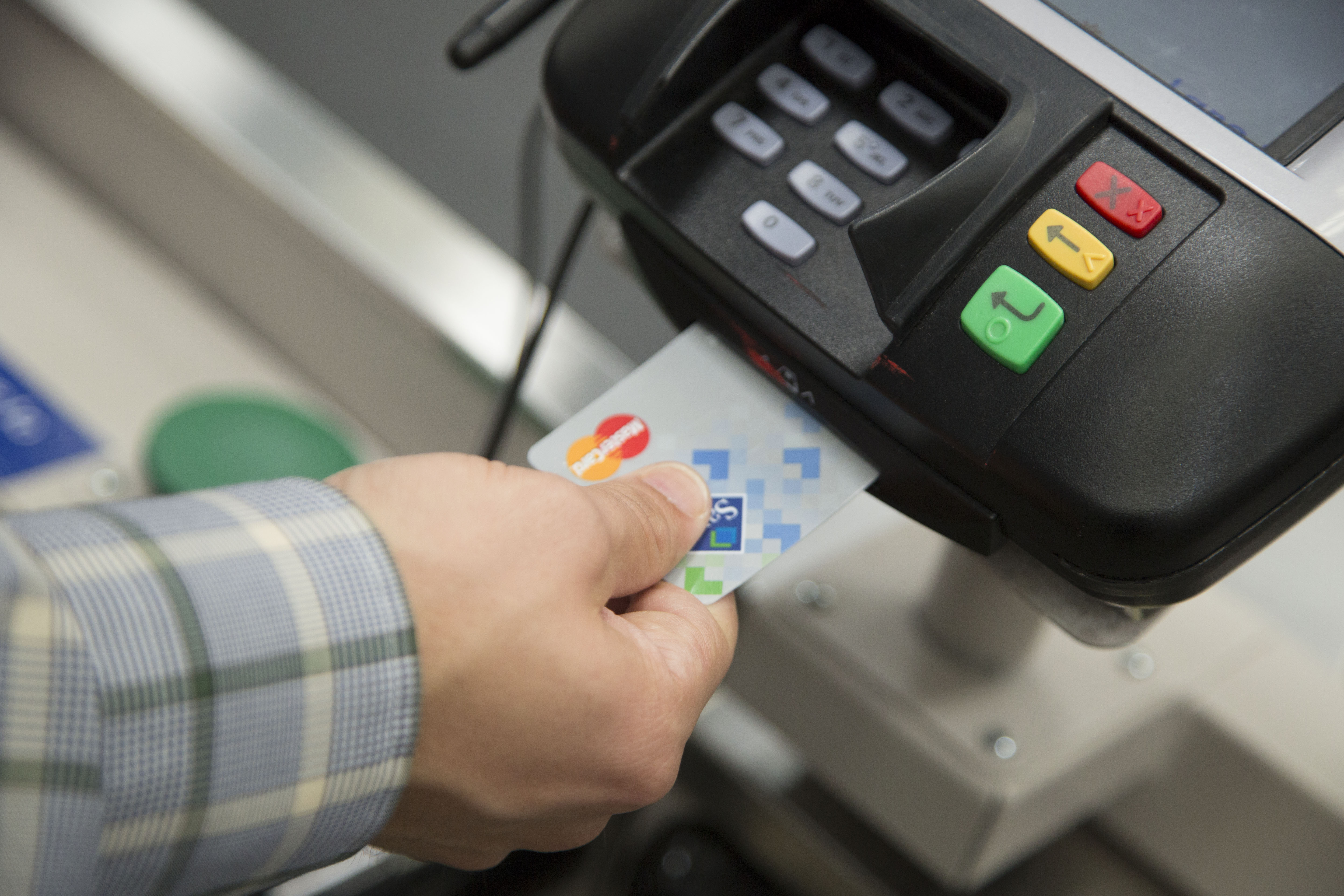 using the MasterCard featuring chip into a card reader