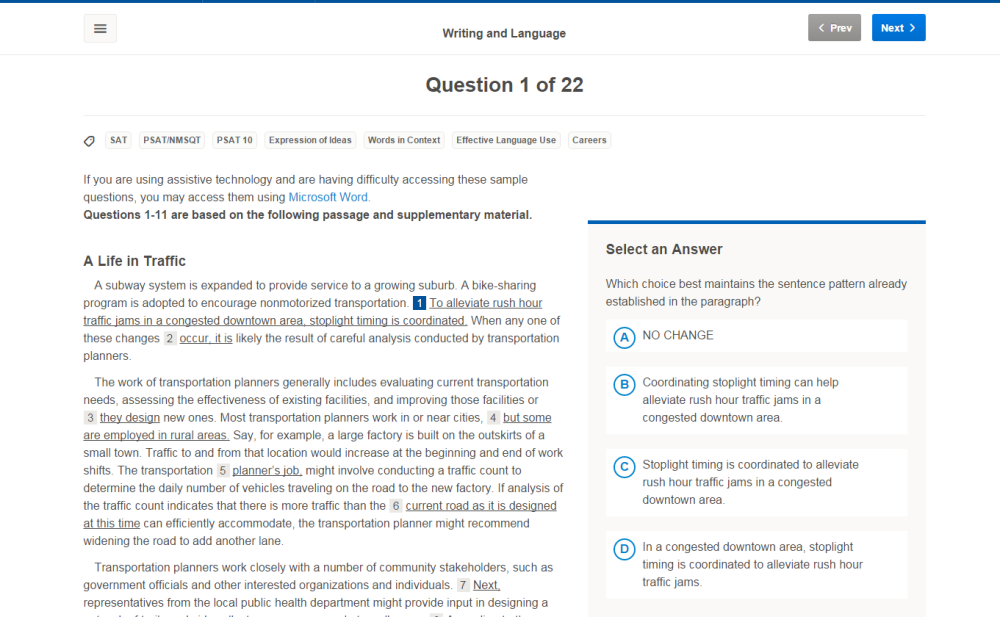 screenshot of Writing and Language sample question