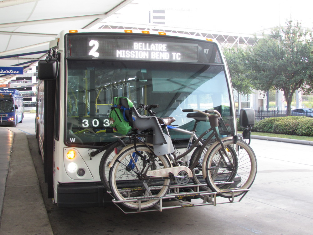 Bike on front rack on Houston Metro bus