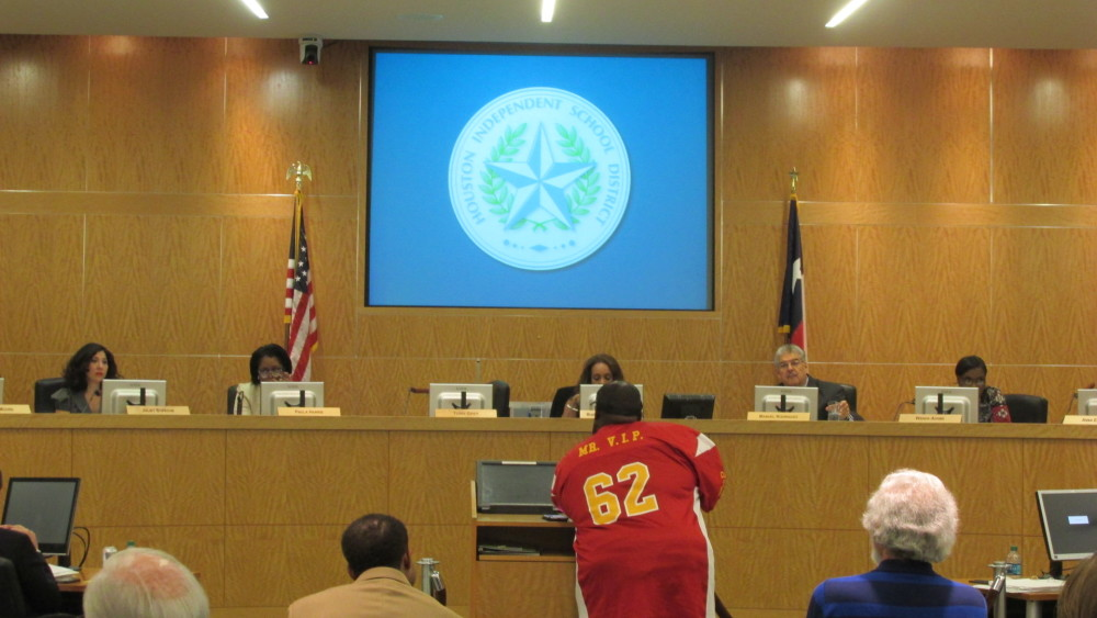 Gerry Monroe with the United Urban Alumni Association spoke before the HISD school board at its October meeting. He has criticized the bond program and is concerned that Jack Yates High School will not get what it was promised.