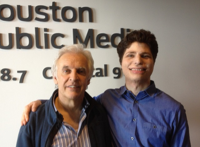 Conductor Gilbert Varga and violinist Augustin Hadelich pose for a photo at Houston Public Media