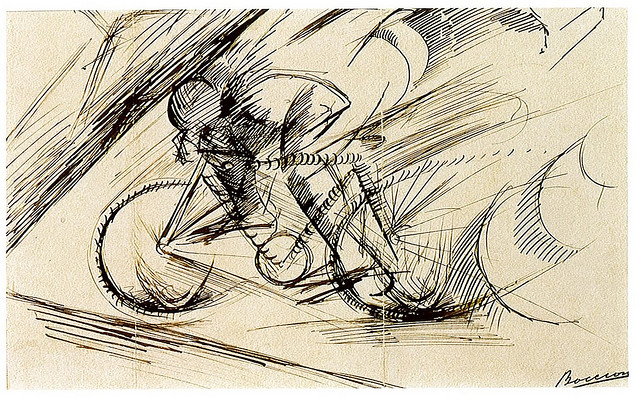 Abstract sketch of a person riding a bicycle