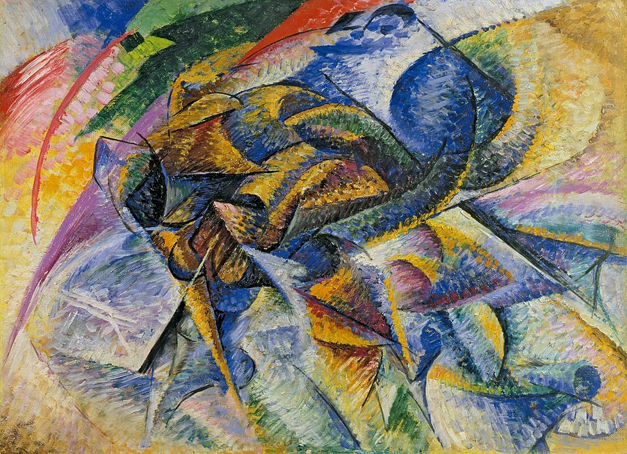 Colorful abstract painting of a person riding a bicycle