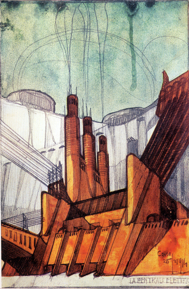 Concept drawing of a power plant with a Futurist aesthetic.