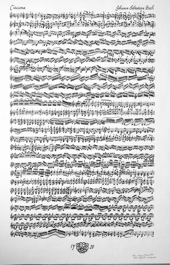 A picture of the manuscript of Bach's Chaconne from his Partita for Violin No. 2