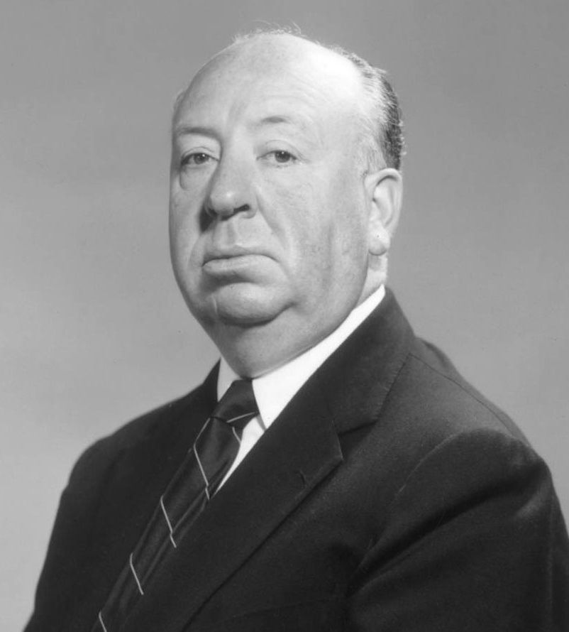 Studio publicity photo of Alfred Hitchcock, c. 1955.