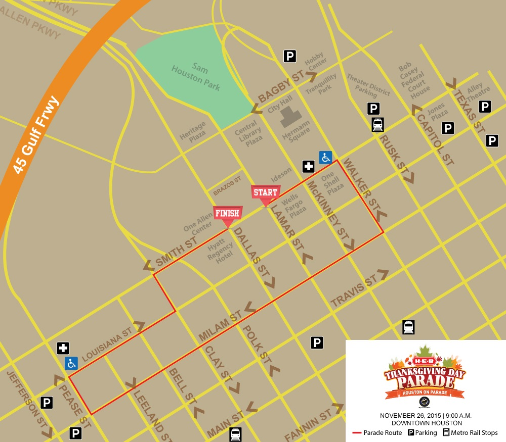 A map showing the route for Houston's Thanksgiving Day Parade