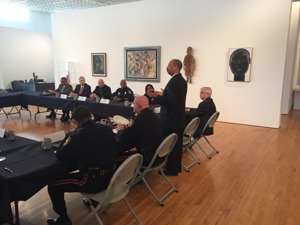 TSU President John Rudley address law enforcement experts at the art museum on campus