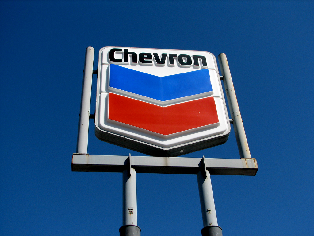 Chevron sign showing logo
