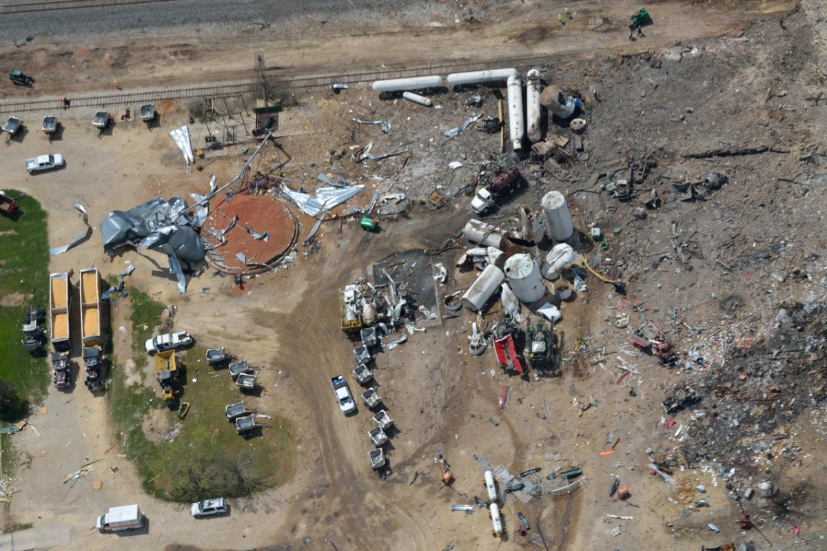 Aerial photo of the West explosion site