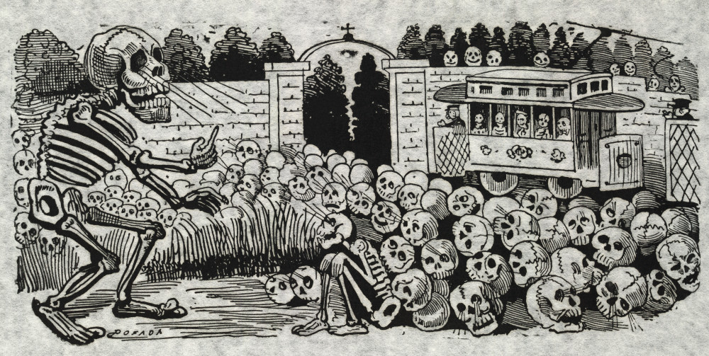 Picture of skull artwork by José Guadalupe Posada