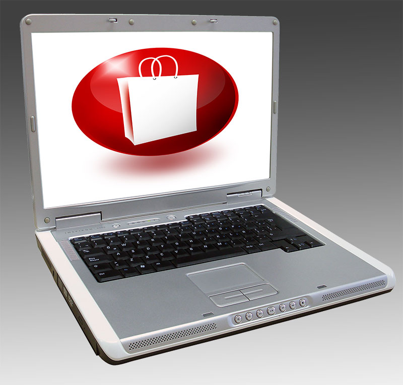 laptop with an online shopping icon