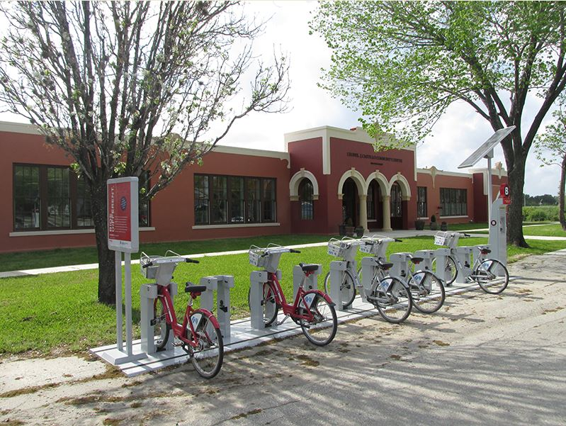 Bike kiosk at Houston's Leonel Castillo Community Center