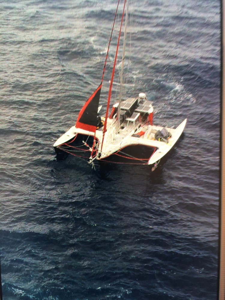 A rescue ship towed Michael Brown's sailboat safely into shore.