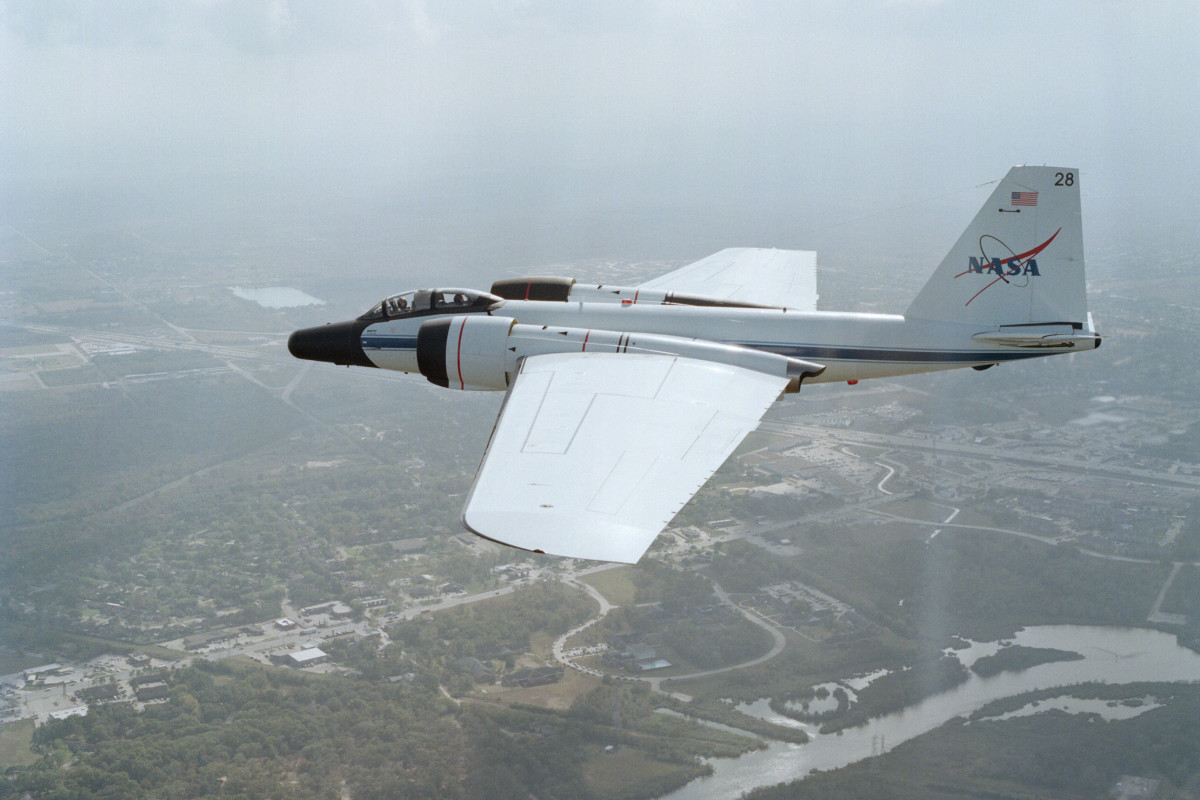 a WB-57 in flight