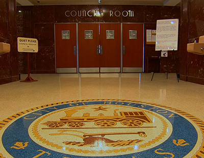 City of Houston seal and door to council room