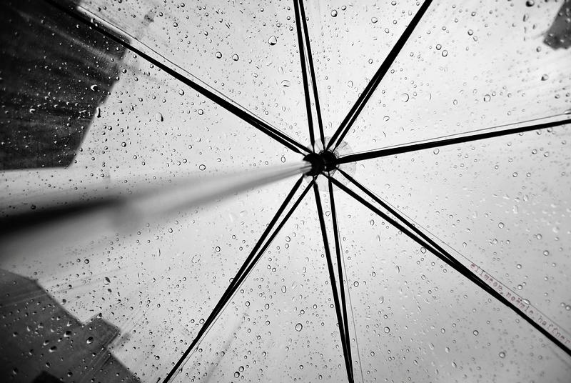 seeing rain drops through an umbrella and tops of buildings