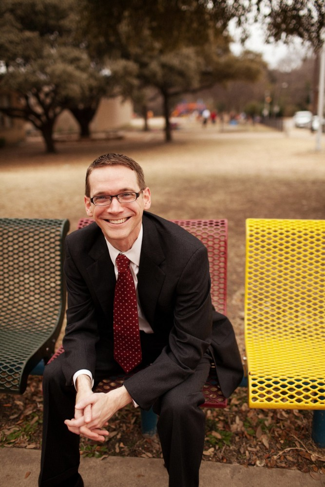 photo on a school bench Mike Morath